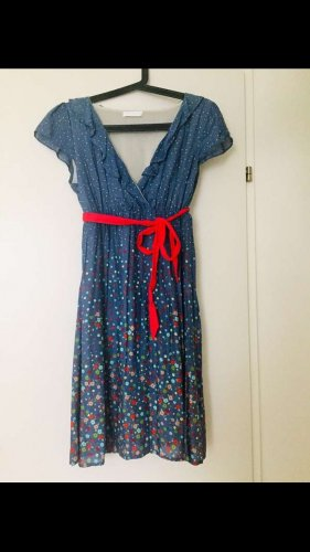Promod Vestido de manga corta rojo-azul