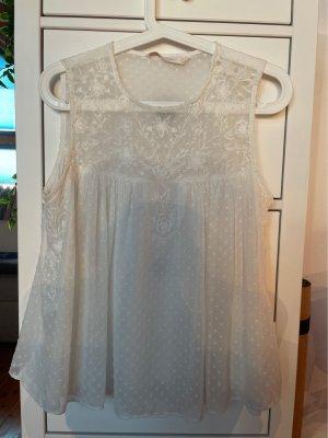 Zara Top de seda blanco