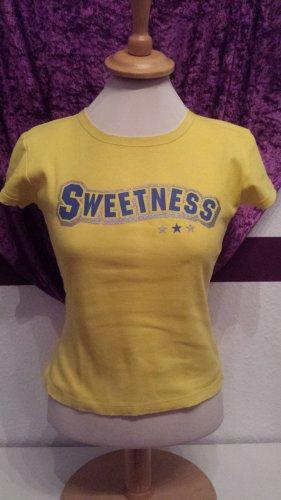 süßes sonnengelbes T-Shirt mit Aufdruck, Gr. S