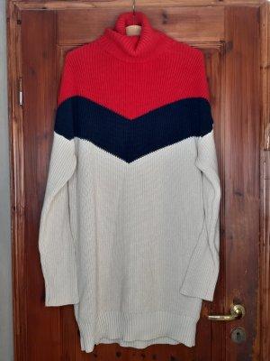 Süßes Strickkleid von KHUJO, Kleid, Gr.L, Rollkragenpulli, Rot Blau Beige