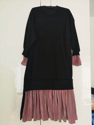 Vestido de tela de sudadera negro-rosa
