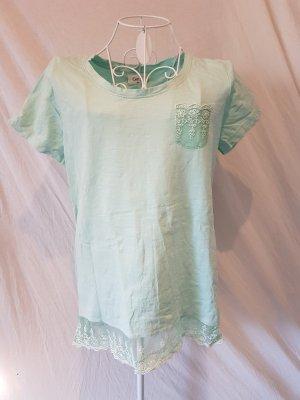 Süßes T-Shirt in Mint mit Spitze Gr. 40