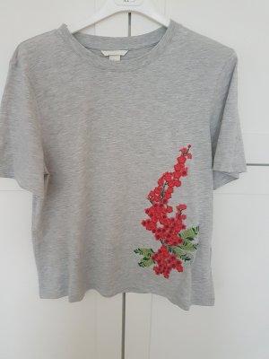 Süßes T-Shirt mit Blumenstickerei Gr. M