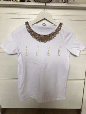 Süßes T-Shirt mit Pailletten-Kragen XS