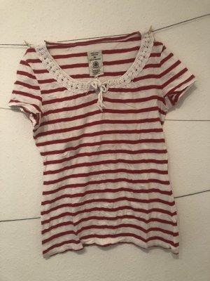 Süßes T-Shirt mit schöner Strick Umrandung am Hals   rot-weiß gestreift