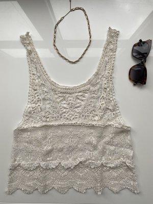 Zara Crochet Top oatmeal-natural white