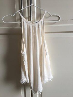 H&M Top senza maniche bianco sporco-giallo chiaro Tessuto misto