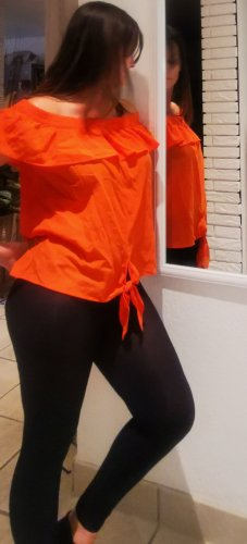 Süßes Top schulterfrei Esprit L neu mit Etikett orange gerafft