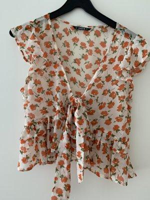 SheIn Kopertowa bluzka biały-pomarańczowy