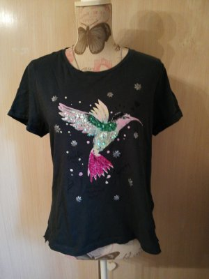 Süsses Tshirt grün Glitzer Vogel L Coolcode