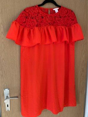 H&M Sukienka z falbanami czerwony