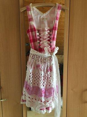 Süßes weiß-rosa kariertes Dirndl mit Spitze und Tüllrock, 34, MarJo