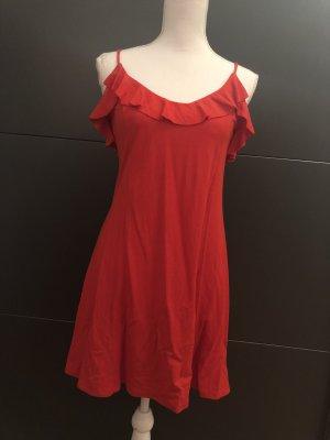 Zara Vestido estilo flounce rojo