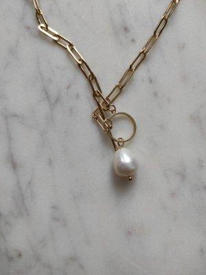 Collier de perles doré-blanc cassé