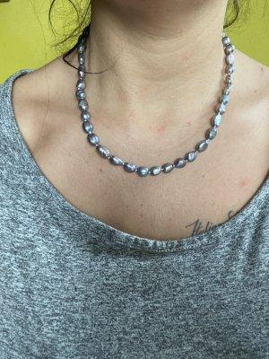 Collar de perlas azul aciano-azul celeste