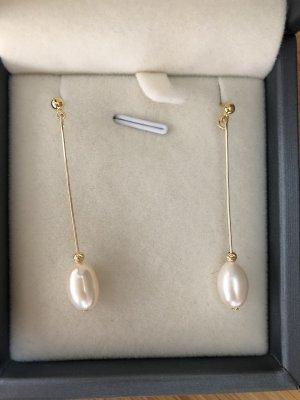 Boucles d'oreilles en perles blanc-doré