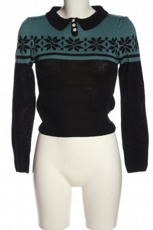 Sugar shock Jersey estilo Noruego negro-turquesa look casual