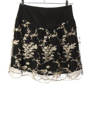 suisses collection Falda de encaje negro estampado floral estilo clásico