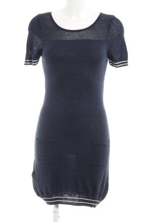Suit Strickkleid weiß-dunkelblau Streifenmuster Casual-Look