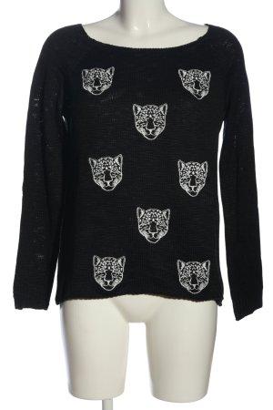 Suiteblanco Strickpullover schwarz-weiß Animalmuster Casual-Look