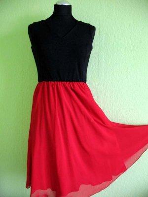 DanHen Chiffon jurk zwart-rood Polyester