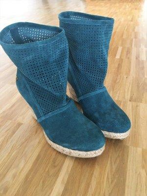 Summer Boots mit Keilabsatz Gr. 39 (neu) Türkis/Petrol
