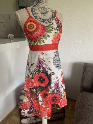 SUMMER! Tunika-Kleid - Mandala - Größe S 34/36 - White/Red - Blumen!