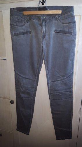 Summum Jeansy typu biker jasnoszary-szary Tkanina z mieszanych włókien
