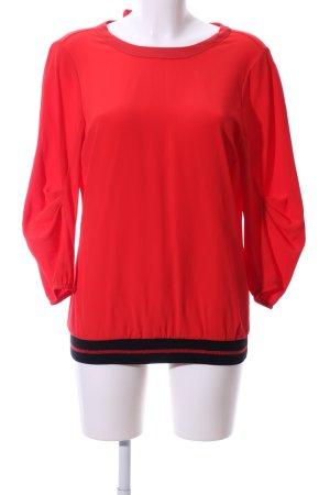 Summum Langarm-Bluse rot-schwarz Streifenmuster Casual-Look
