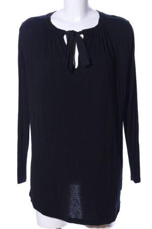 Summum Long-Bluse schwarz Schriftzug gedruckt Casual-Look