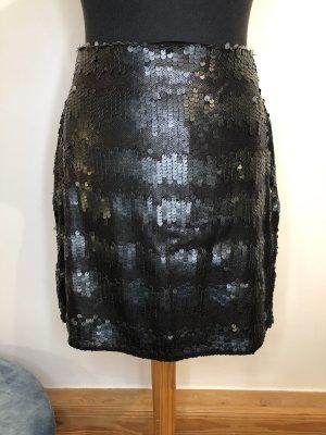 Summum ❤️ Minirock Pailletten Lederpailletten schwarz ❤️ 40 L