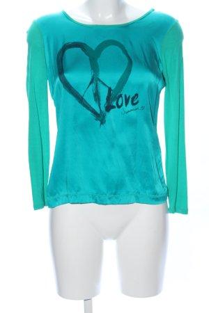 Summum Print-Shirt türkis Motivdruck Casual-Look
