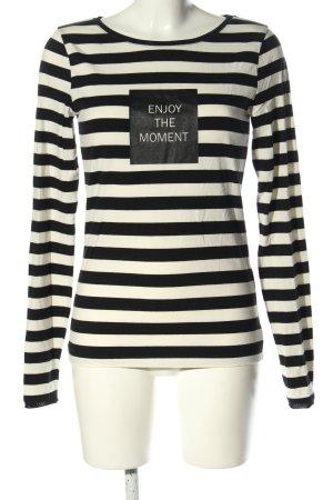 Summum T-shirt rayé noir-blanc lettrage imprimé style décontracté
