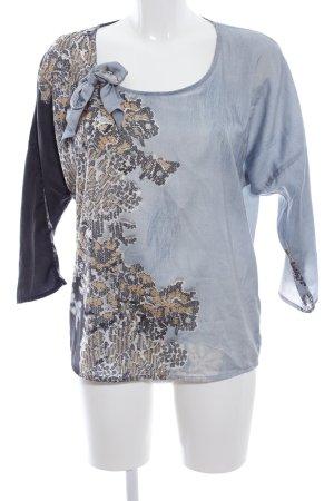 Summum Schlupf-Bluse blau-schwarz abstraktes Muster Business-Look