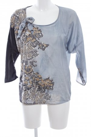 Summum Schlupf-Bluse blau-schwarz abstraktes Muster Business-Look
