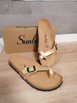 Sandały japonki złoto