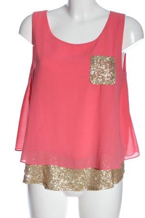 Suncoo Blusa senza maniche rosa-oro stile casual