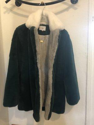 Suncoo Manteau de fourrure vert foncé-blanc