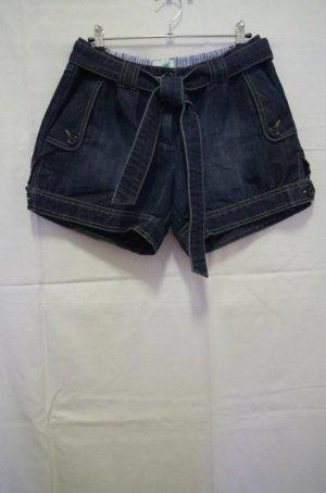 Sunichi Jeans Shorts Hotpants Denim Used Acid Wash Gürtel Falten