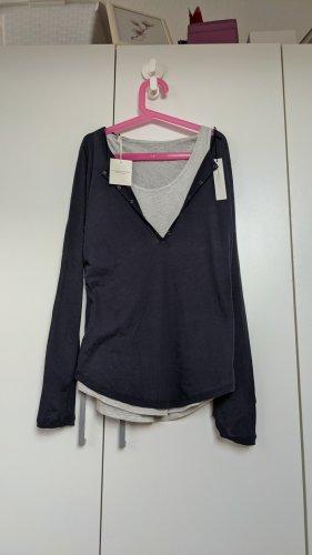 Majestic Filatures Giacca-camicia grigio chiaro-blu scuro Cotone