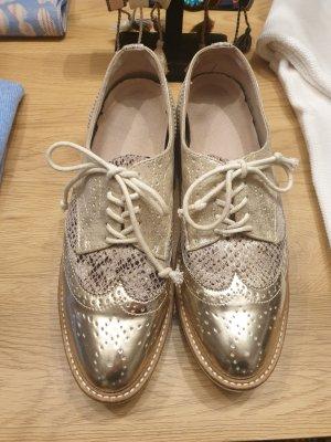 Sandales à talons hauts et plateforme blanc-doré