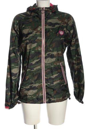 SUPER DRY Kapuzenjacke khaki-braun Camouflagemuster Casual-Look