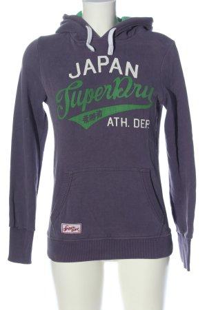SUPER DRY Kapuzensweatshirt lila Schriftzug gedruckt Casual-Look