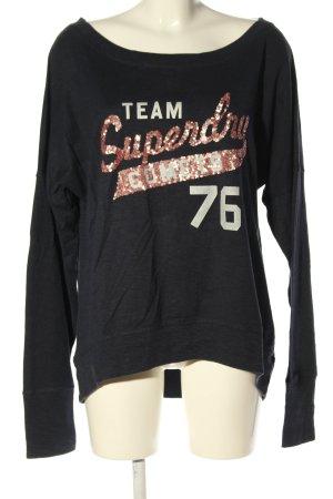 SUPER DRY Longshirt schwarz-pink Schriftzug gedruckt Casual-Look