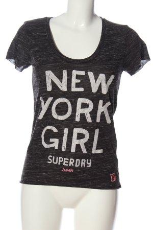 SUPER DRY Print-Shirt schwarz-weiß meliert Casual-Look