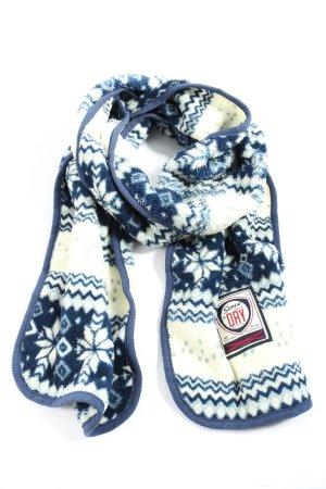 SUPER DRY Strickschal weiß-blau grafisches Muster Casual-Look