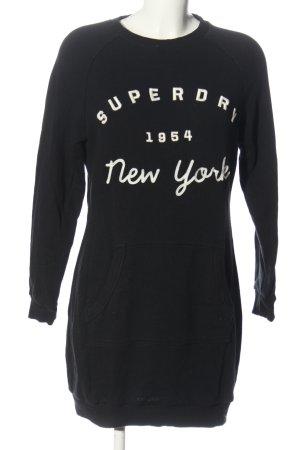 SUPER DRY Sweatkleid schwarz-weiß Schriftzug gestickt Casual-Look