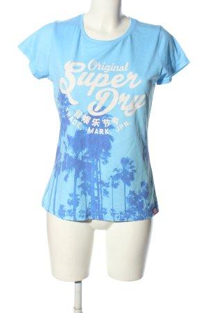 SUPER DRY T-Shirt blau Motivdruck Casual-Look