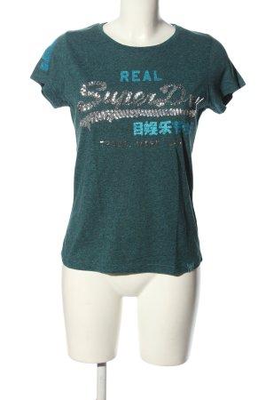 SUPER DRY T-Shirt türkis-silberfarben Schriftzug gedruckt Casual-Look
