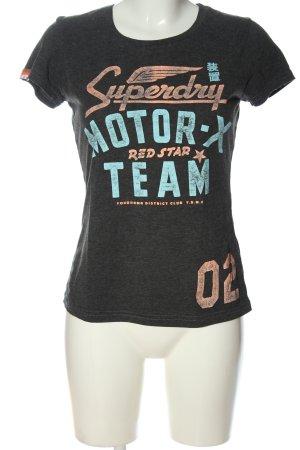 SUPER DRY T-Shirt hellgrau-blau Schriftzug gedruckt Casual-Look